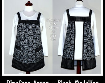 Pinafore Apron, loose-fitting smock, no-tie-apron, all day apron - Black Medallion, made-to-order in 3 sizes, would be great for maternity