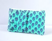 Woman's aqua blue and navy change pouch ruffle coin purse change wallet bird feather print.
