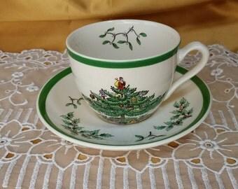 Spode Christmas Tree Cup and Saucer Mug Holiday China Green Trim Tree Presents Holly England *eb