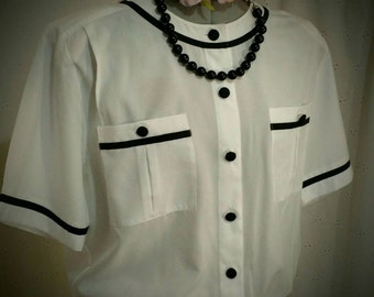 Clearance***VINTAGE BLOUSE, Gathered Waist band, 1980'S, Laura And Jayne Collection, White Black, Size 14, Retro Style, 80'S Flashback