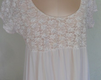 Vintage Nightgown Shadowline Pink Lace Size Large