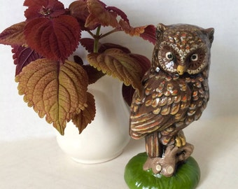 Hand Painted Owl Statue Figurine Ceramic Brown Orange and Green 1980s
