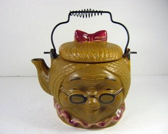 Vintage GRANNY TEAPOT Whimsical Grandma Shape Tea Pot
