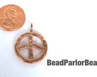 Hilltribe Copper 21mm Hammered Peace Sign Pendant