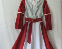 Girl's Lucy Pevensie's Narnia Or Maid Marian Renaissance Dress With Belt Only: All Cotton & Linen Fabric, Girl's Size 10 - 14, Ready To Ship