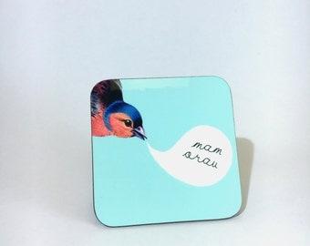 NEW - Melamine Coaster Mam Orau Welsh Best Mum  Bird Pale Blue