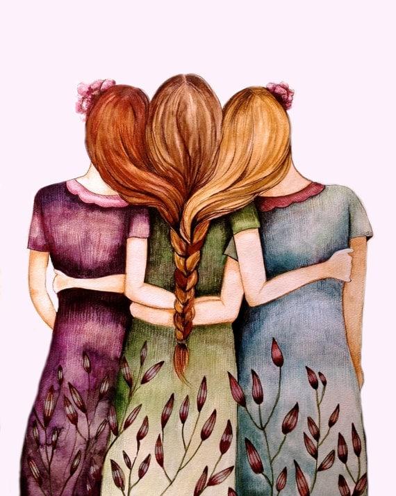 Three sisters best friends  with brown hair art print