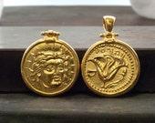 Gold Coin Men Necklace, Ancient Greek Rhodes Coin Pendant God Apollo the Sun god Light Symbol Coin Necklace, Statement Necklace, Men Jewelry