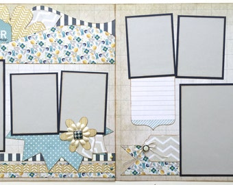 Remember All the Good Times Pre Made 2 Page 12x12 Scrapbook Layout