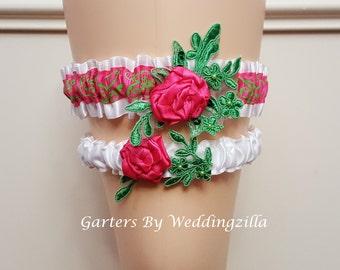 Flower Wedding Garter Set, Damask Wedding Garter Set,  White Hot Pink Bridal Garter ,  Exclusive Luxury Garter, Wedding Garter Belt