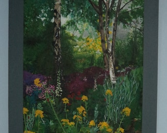 Large framed original acrylic painting on canvas 106 cm by 80 cm of garden