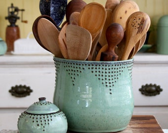 Lovely Extra Large Kitchen Utensil Holder   Aqua Mist   Hand Thrown Vase   Modern  Home Decor