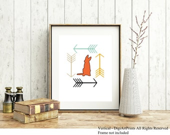 German Shepherd Print, Modern Arrows, wall decor, dog lover gift, all breeds