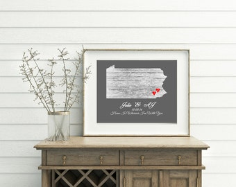 Home is wherever i'm with you art print, personalized wedding gift, State, couples name