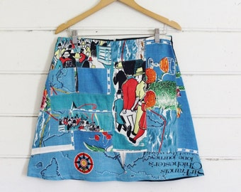 Upcycled Linen Tea Towel Womens A Line Denim Skirt Patchwork Wearable Art Fabric Collage Australia Blue