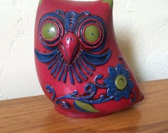 Vintage Owl Piggy Bank Owl Bank Coin Bank Japan Red Blue Green With Stopper
