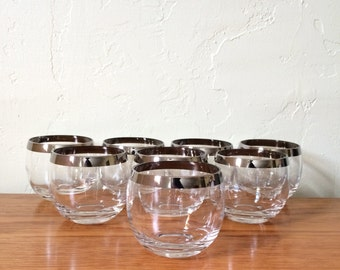 Vintage Roly Poly Glasses Set Of 8 Silver Band Silver Rim Mad Men Dorothy Thorpe Style Mid Century Modern MCM Barware