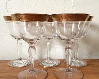 Vintage Gold Encrusted Etched Rim Cordial Glasses Set of 5 Tiffin Minton Glastonbury Liqueur Aperitif