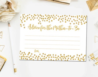 Gold Baby Shower Games, Advice for Mommy to Be Cards, Gold Baby Shower Printable, Printable Baby Shower Advice Instant Download BB6