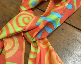 Mod Scarf or Headband in orange, lime green, turquoise 11 x 43 inches