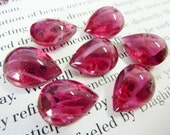 6 glass jewels, 15x11mm, red white, pear
