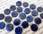 10 glass cabochons, Ø10mm, lapis lazuli blue, marbled, round flat