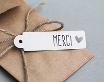 20 tags MERCI heart cut - wedding paperie - thank you tag - thank you wedding tag - wedding favor - wedding packaging - french handmade