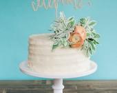 CELEBRATE cake topper in gold glitter or wood