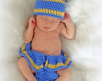 Crochet Newborn Photo Prop - Crochet Football Pattern - Diaper Cover and Hat Pattern - CROCHET PATTERN - Crochet Patterns by Deborah O'Leary