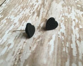 Black Heart Earrings, Black Heart Studs, Valentine's Day Gift, Anniversary Gift, Stone Heart Earrings, Heart Jewelry, Gothic Earrings