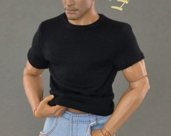 1/6th scale black T-shirt for: action figures and male fashion dolls