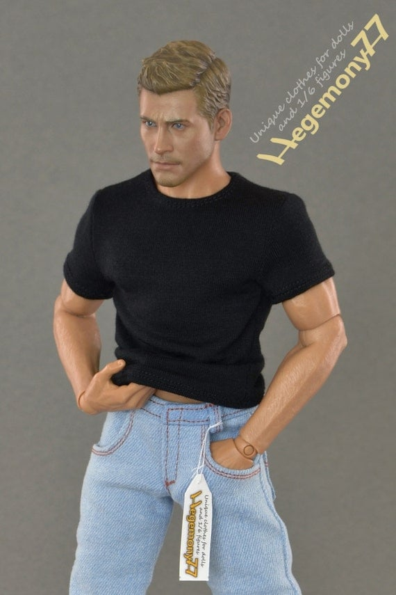 1/6th scale black T-shirt for: collectible movable action figures and male fashion dolls