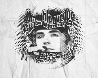 "Drimble Wedge & The Vegetation ""concert"" t shirt from the original Bedazzled movie w Peter Cook Dudley Moore FREE shipping"