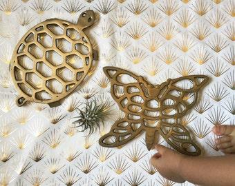 Vintage Solid Brass Turtle / Butterfly Trivet Spoon Rest Utensil Tray