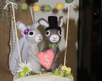 AdoraWools - Bride - Groom - Baby Bunny Cake Topper