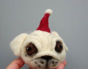 White pug ornament, Christmas decoration, needle felted, unbreakable bauble, wool ornament, dog lovers gift, holiday decor, cute felt dog