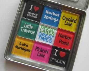 HARBOR SPRINGS, Walloon Lake, Charlevoix, Petoskey, Traverse City, Great Lakes, Up North, Michigan, Magnets
