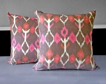 "Pair of Pillow Covers - Brown Pink Ikat 21"" x 21"", Ready to Ship"