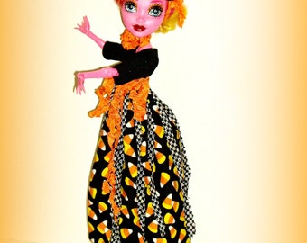 SALE - Gooliope Jellington's Candy Corn Dress, Fascinator Hat, Handmade Clothes fit 17 inch Monster High Dolls
