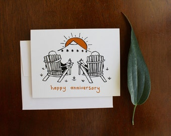 Greeting Card - Happy Anniversary - Outdoors Mountain Adventure