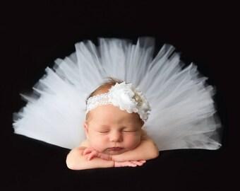 Newborn Headband - Infant Headband - White Flower Baby Headband