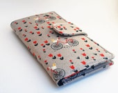 Womens Clutch Wallet, Fabric Bi fold Vegan Wallet,  Bicycle and Flowers, Grey