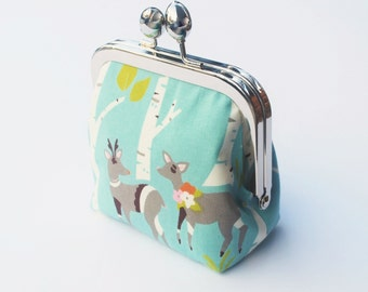 Coin Purse, Snap Frame Change Purse, Woodland, Deer and Birch Trees