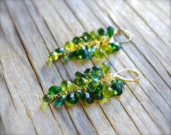 18K gold chrome diopside earrings with peridot & apatite. Solid gold emerald green gemstone cluster briolette earrings. Made to order.