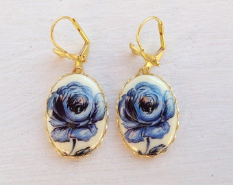 Rose Earrings/Blue Earrings/Blue Rose Earrings/Blue Delft Earrings/Delft Blue Earrings/Vintage Earrings/Gifts For Her/Mother's Day Gift