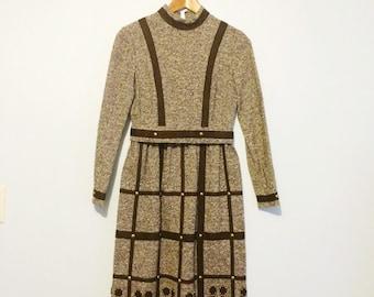 Vintage Suzy Perette Dress / 1960s Brown Wool Tweed Dress with Gold Stud Detail