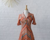 Orange Chevron Stripe Dress with Blue & Brown - Short Sleeve / Collar / Pockets / Above Knee Length Early 70s Size XS Small - LOVE it!