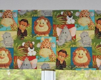 Children's Valance . Jungle Animal Babies . Kids Valance . LIGHTWEIGHT Cotton . Handmade by Pretty Little Valances