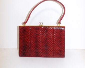 Vintage 1950s 1960s real red snakeskin and leather grab handbag bag