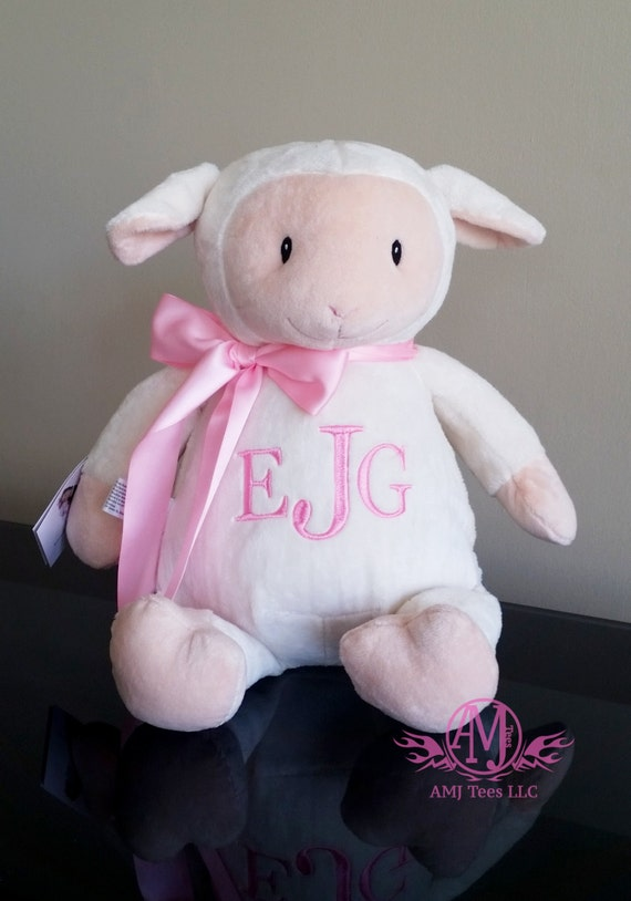 Personalized stuffed animal stuffed lamb monogrammed baby gift il570xn negle Images